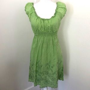 Max Studio Green Smocked Embroidered Dress